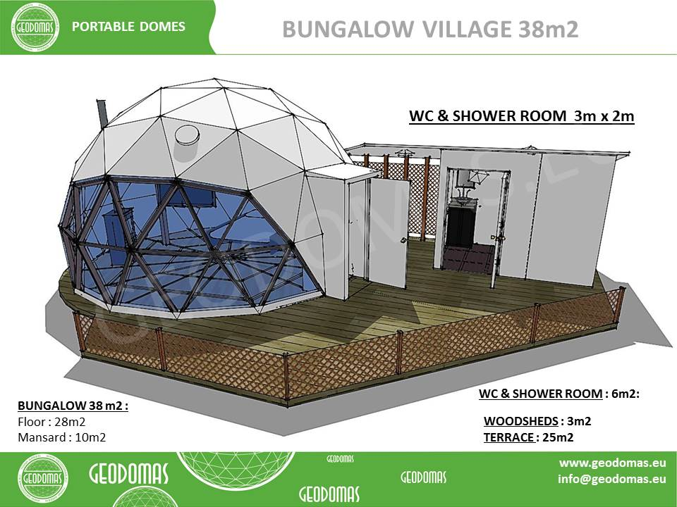Bungalow Village Ø6m Height + WC & Shower ROOM | Total 47m2