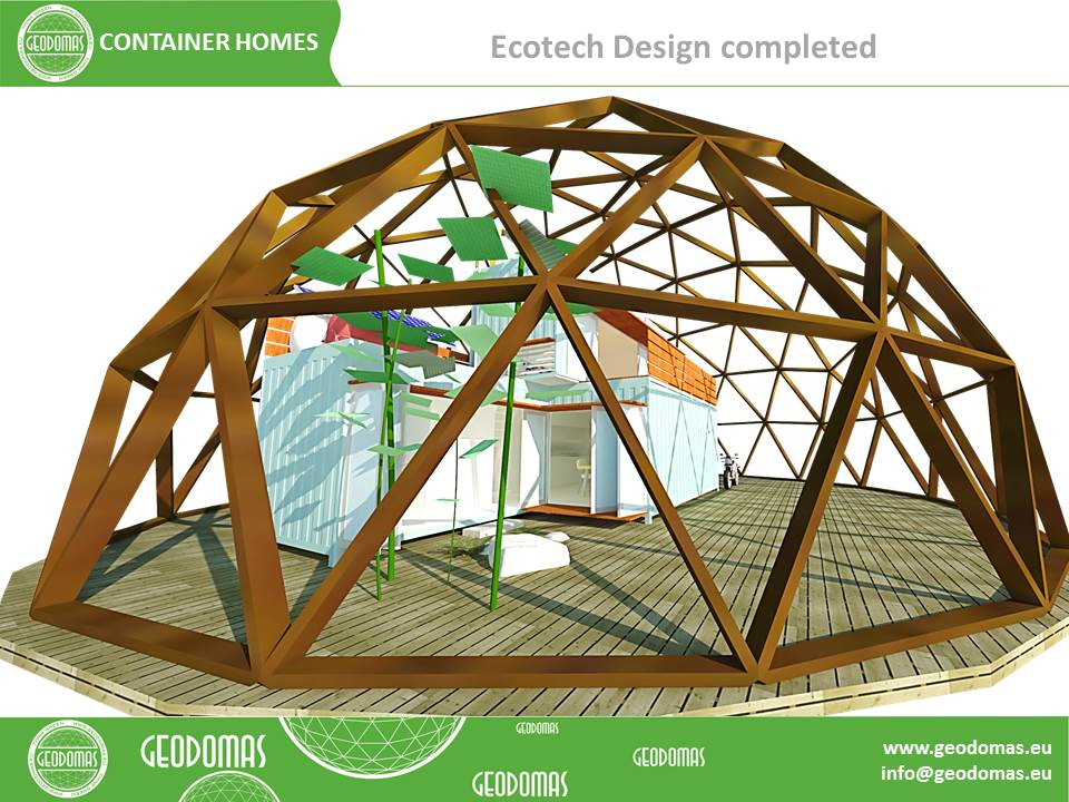 Geodesic Transparent Roof for Container Homes