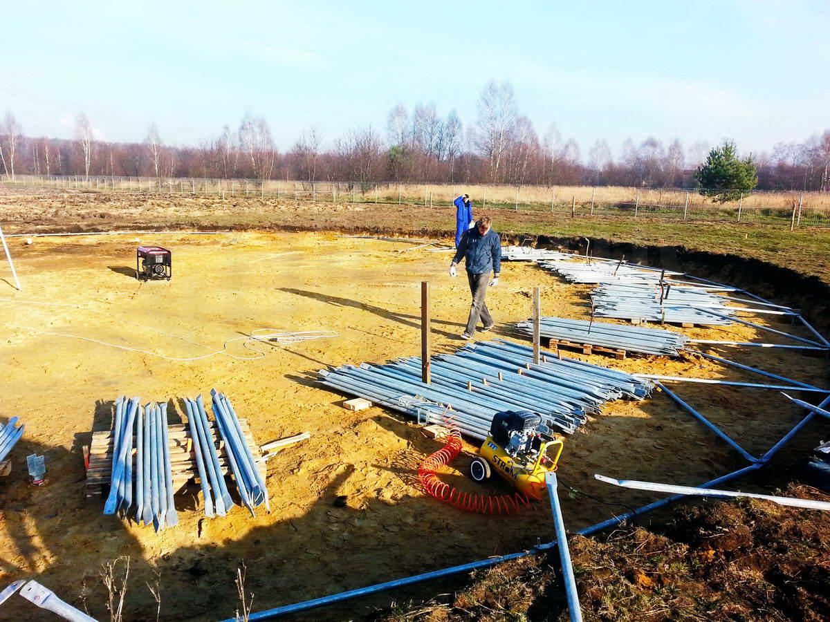 Ūkininko ūkio sodyba | Žirgynas ir manežas kupolas Ø24m , Garažas – Lenkija