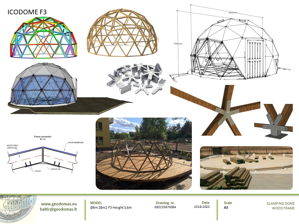 28m² Glamping Dome Ø6m Height 3,6m F3 | Sketches
