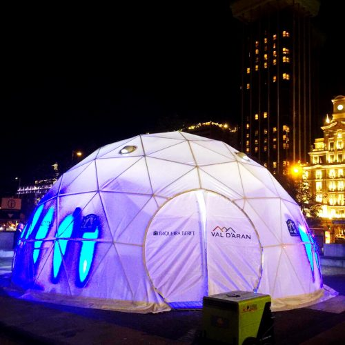 Portable Dome Ø8m for Baqueira Beret, the largest ski resort in Spain