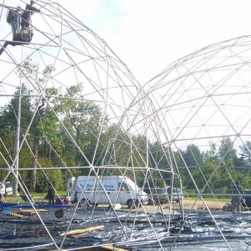 VIP Club 450m2 | Portable Geodesic Domes Ø20m & Ø13m, Jusine, Lithuania