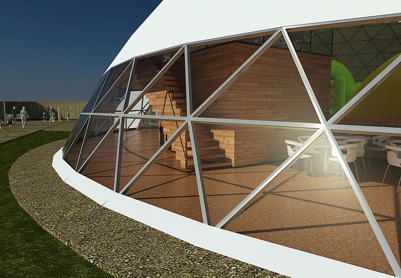 1000m2 Child Educational Center @  Ø34+12+8m Domes | Zoo Safari, Borysew