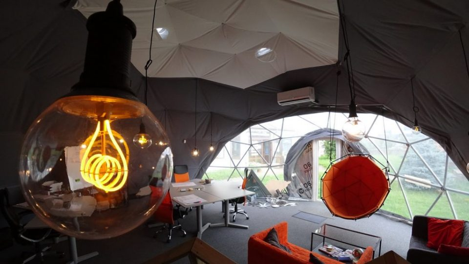 Expositional Portable Bungalow Work Studio 50m2 | Geodesic Dome, Vilnius, Lithuania