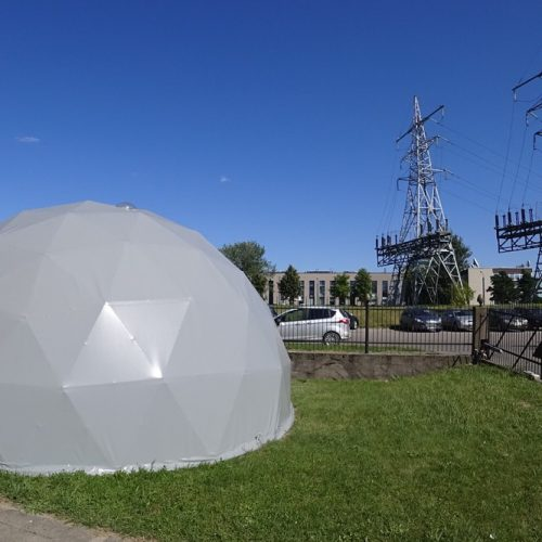 Expositional Portable Bungalow Work Studio 50m2 | Geodesic Dome, Vilnius, Lithuania