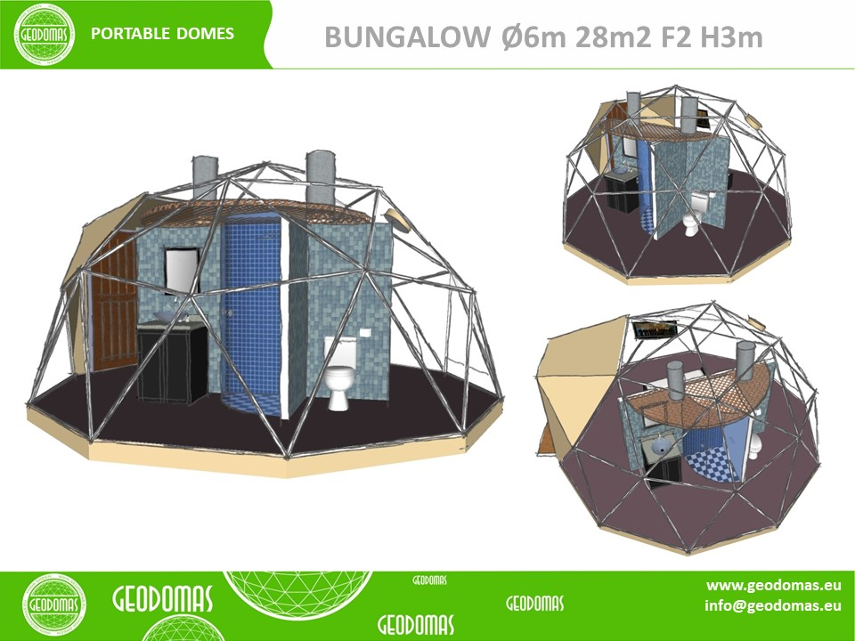 Glamping home Ø6m F2 with WC & Shower ROOM | Total 28m2