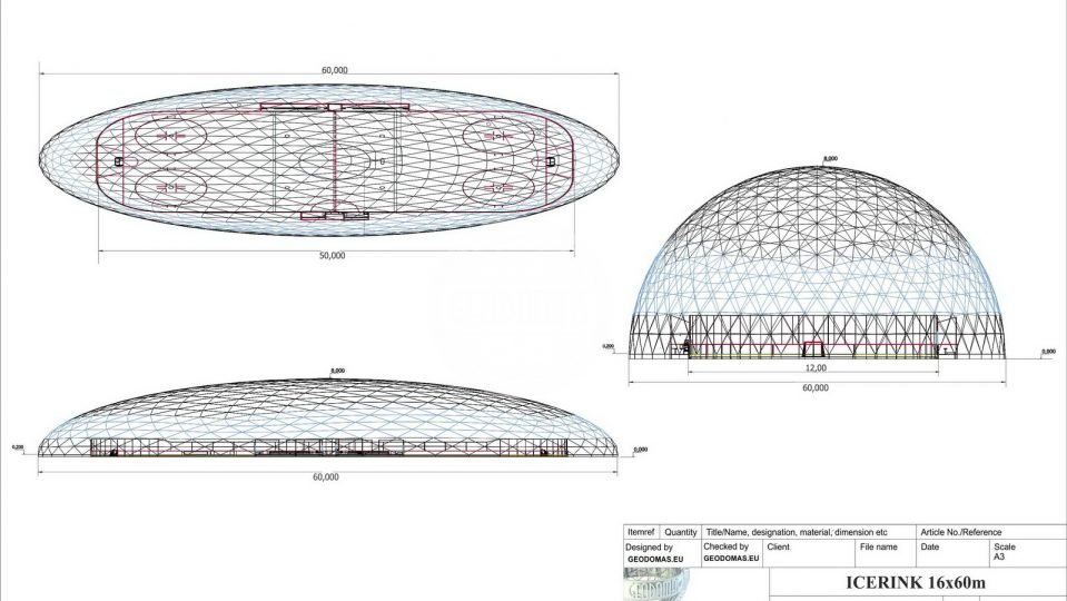 Dome Cover For ICE SKATING RINK O16x60m