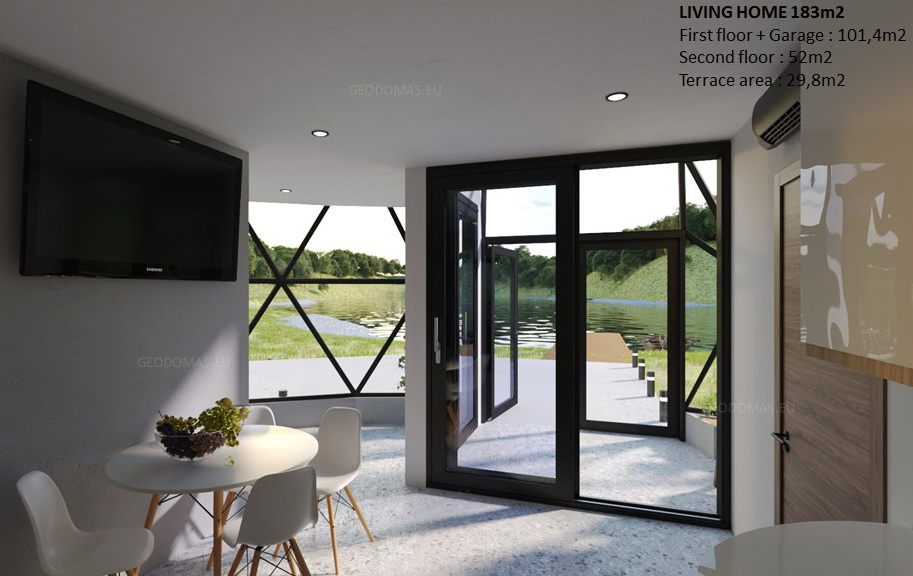 Ø11m Glass Dome protects your II Level house 183m2